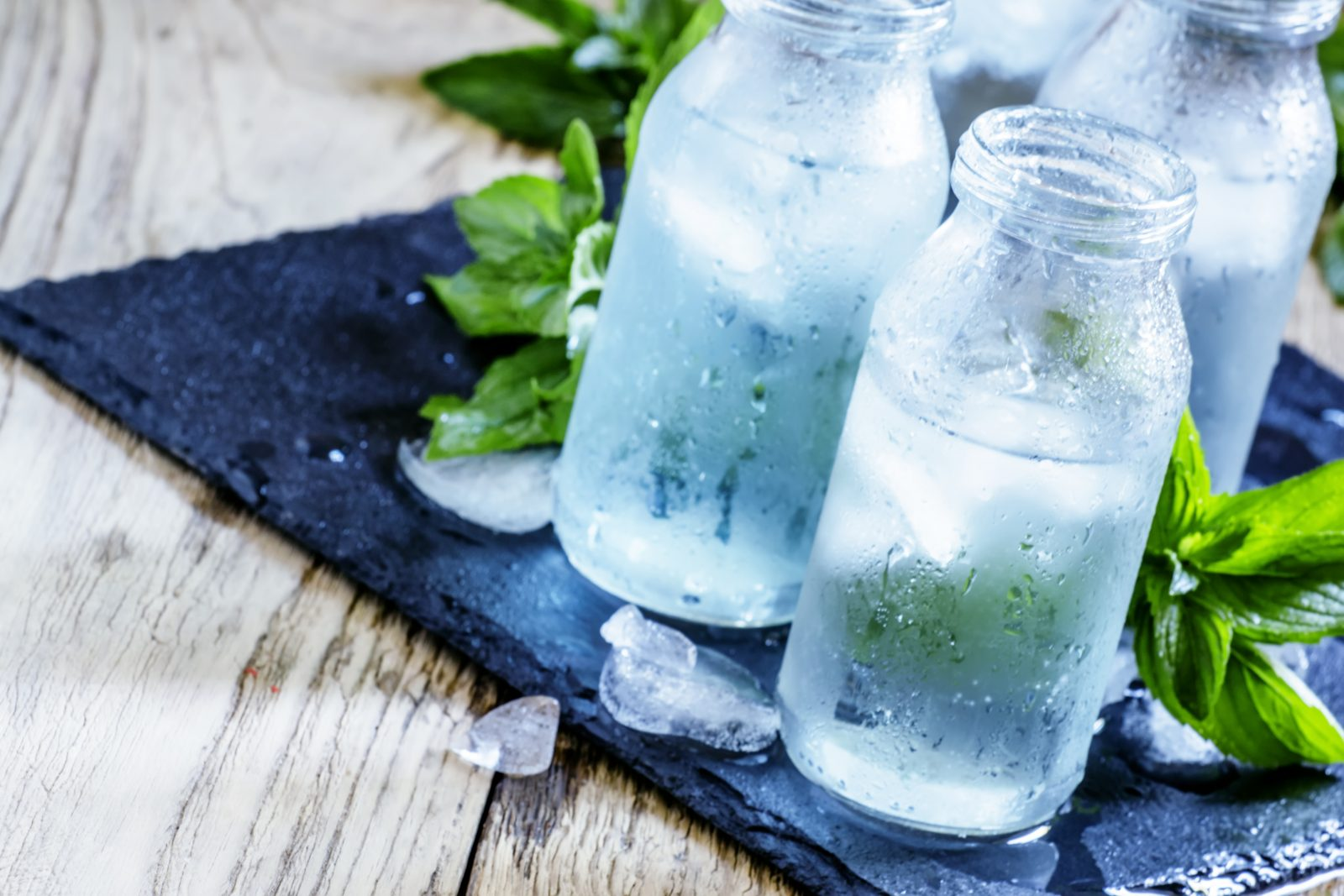 Very Cold Alkaline Water in Glasses